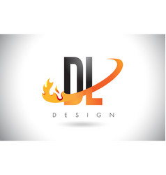 Dl d l letter logo with fire flames design and vector
