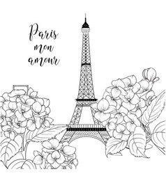 eiffel tower icon with spring blooming flowers vector image