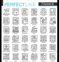 Finance banking outline mini concept symbols vector