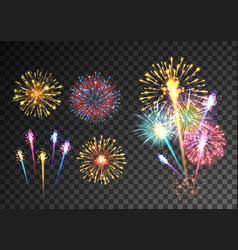 Fireworks isolated on dark transparent background vector