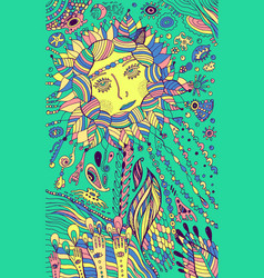 flower woman - psychedelic colorful art surrea vector image