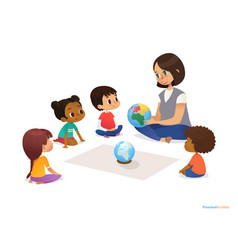 Friendly teacher demonstrates globe to children vector