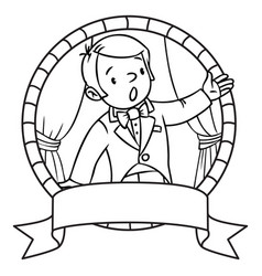 Funny singer or vocalist coloring book or emblem vector