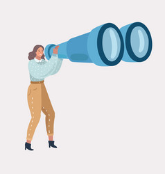 Girl with big binoculars vector