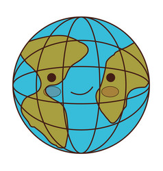 globe world cartoon kawaii in colorful silhouette vector image vector image