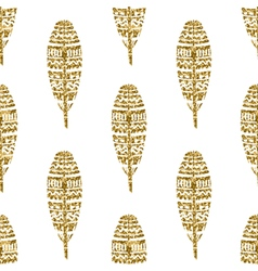 Gold Glitter Feathers Seamless Pattern vector image