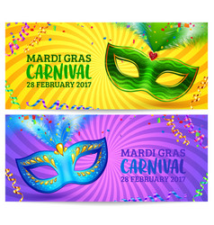green and blue carnival masks mardi gras vector image