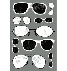 Grunge set of retro glasses vector