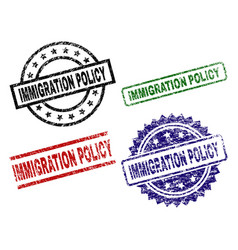 Grunge textured immigration policy stamp seals vector