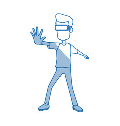 Guy character wear vr glasses standing vector