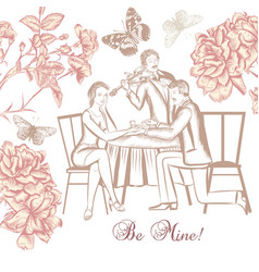 Hand drawn scenery with young couple vector