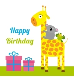 Happy Birthday card with cute giraffe koala and vector