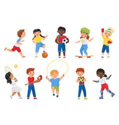 happy kids do sports exercises sportive boy girl vector image