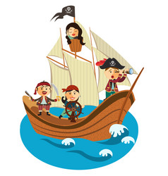 Happy pirates sailing in their pirate ship vector