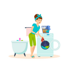Housewife in bathroom cleaned things and washed vector
