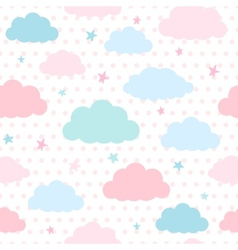 Kids background with clouds and stars vector image