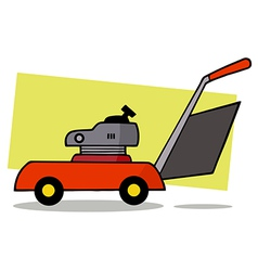 Lawn mower cartoon vector image