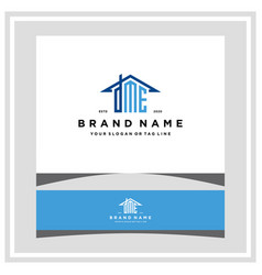 Letter dme home roof logo design and business card vector