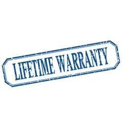 Lifetime warranty square blue grunge vintage vector