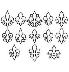 lily flowers thin line icons set- heraldic symbol vector image