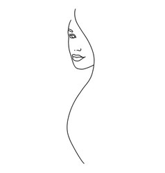 Line drawing a beautiful woman vector