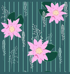 lotus background floral pattern with water lilies vector image