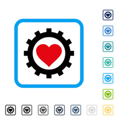 Love heart options gear framed icon vector