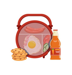 lunch box with egg sausage vegetables cookie vector image