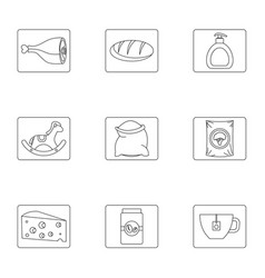 Menu icons set outline style vector