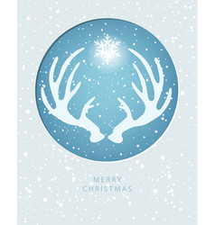 merry christmas greeting card with antler vector image