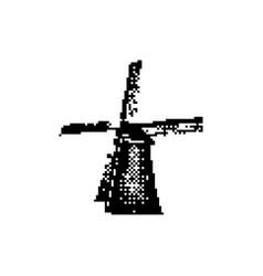 mill complex at kinderdijk 8 bit minimalistic vector image