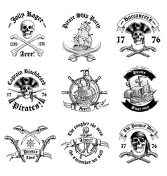 monochrome pictures pirate labels military vector image