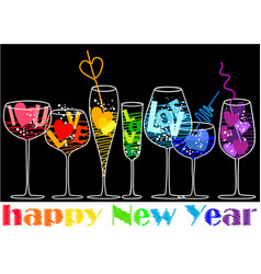 New year drinks vector
