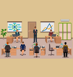 Office interior with employee and boss teamwork vector