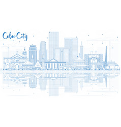 Outline cebu city philippines skyline with blue vector