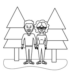 outline cute couple together with casual clothes vector image