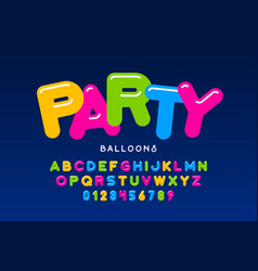 party balloons style font design helium balloons vector image