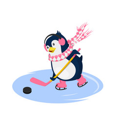 Penguin in scarf playing hockey vector