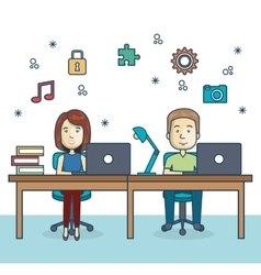 People working office icon vector