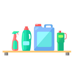Plastic industrial detergent bottles set vector