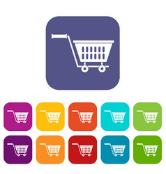 Plastic shopping trolley icons set flat vector