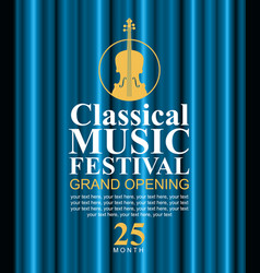 Poster for classical music festival with violin vector