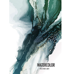 Pouring art green marble background luxury vector