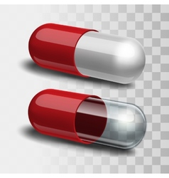 Red pills with white and transparent vector