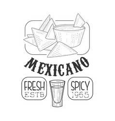 Restaurant fresh mexican food menu promo sign in vector