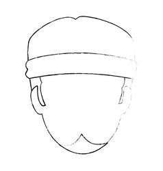 Rough motorcyclist head avatar character vector