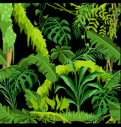 seamless pattern with jungle plants vector image