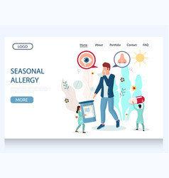 Seasonal allergy website landing page vector