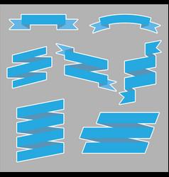 set blue ribbon banner icon vector image