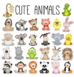 set cute animals vector image